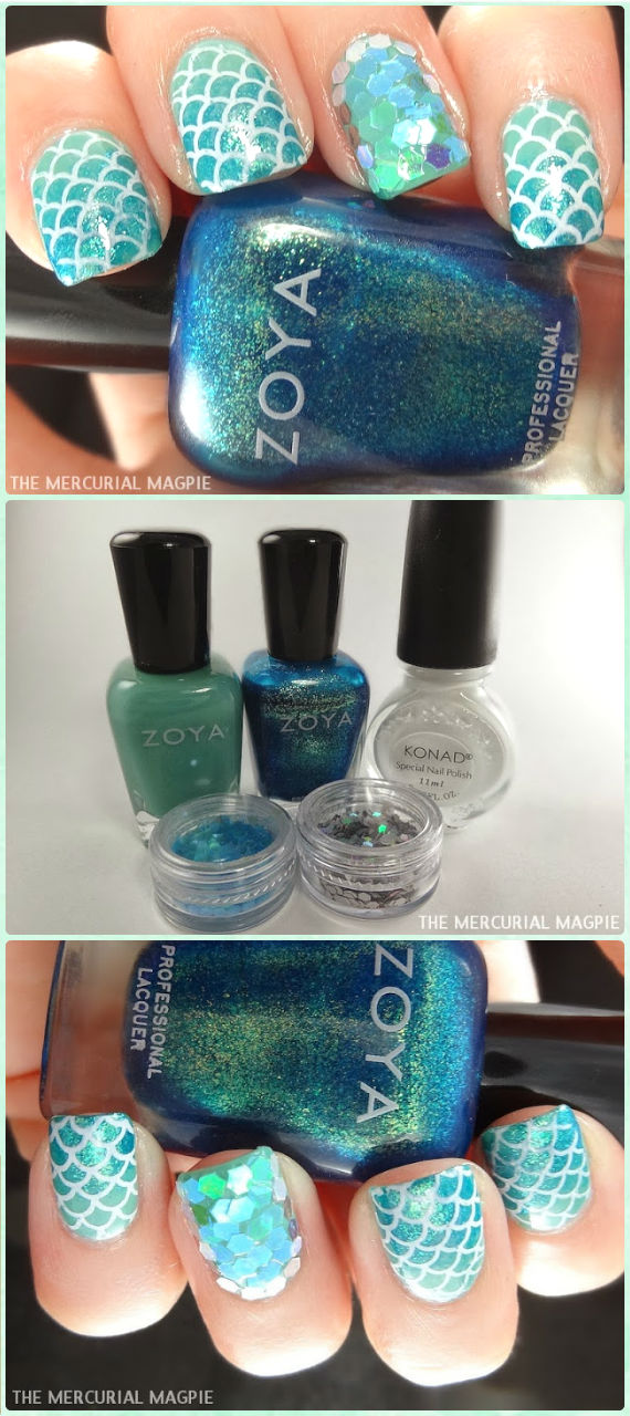 DIY Glittering Mermaid Nail Art Manicure Tutorials