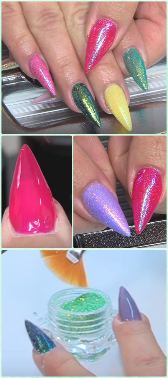DIY Gel Glitter Mermaid Nail Art Manicure Tutorial [Video] • DIY How To