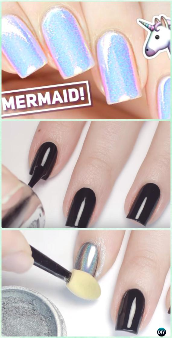 DIY Mermaid Powder Nail Art Manicure Tutorial [Video]