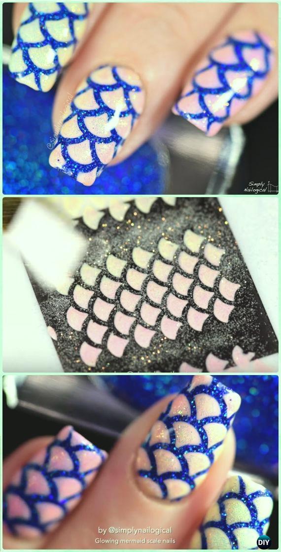 DIY Easy Peel Off Mermaid Shimmer Glow Nail Art Manicure Tutorial [Video]