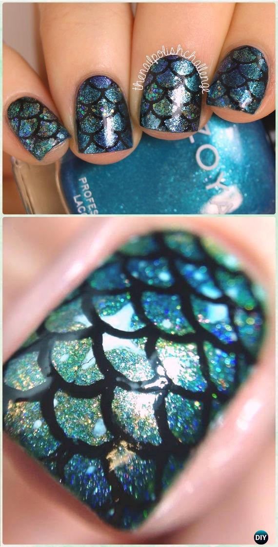 DIY Mermaid Scale Nail Art Manicure Tutorial [Video]