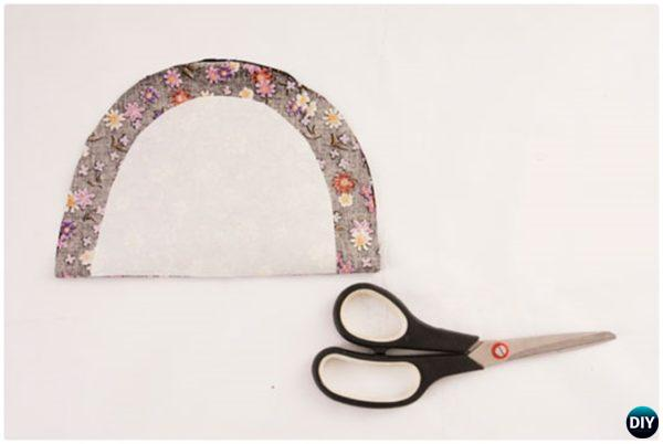 DIY No Sew Floral Fabric Handbag with Cardboard Tutorial 6