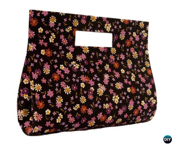 Diy No Sew Fl Fabric Handbag With Cardboard Tutorial