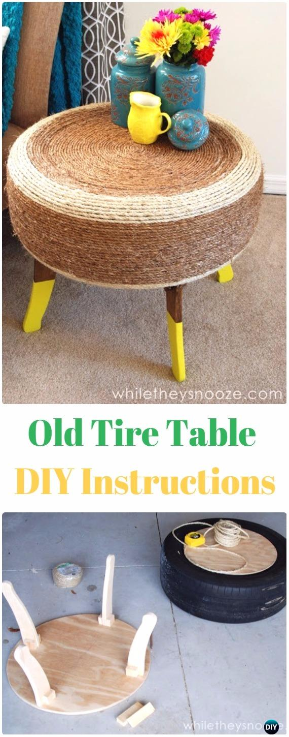 DIY Old Tire Table Instructions - DIY Old Tire Furniture Ideas
