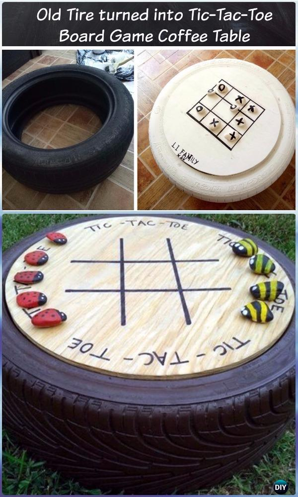 DIY Old Tire Tic Tac Toe Board Game Table - DIY Old Tire Furniture Ideas