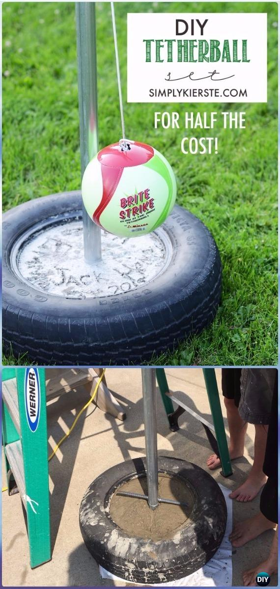 DIY Tire Tetherball Set Instructions - DIY Old Tire Furniture Ideas