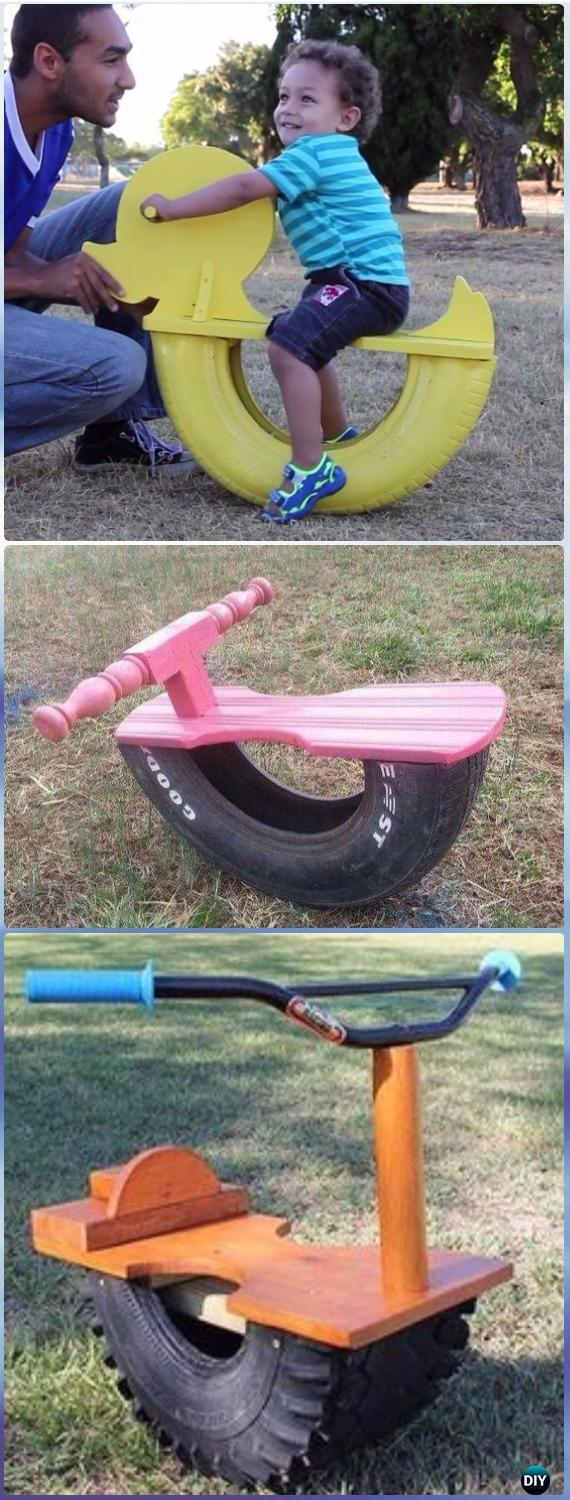 DIY Tire See Saw Rocking Chair Instructions Video - DIY Old Tire Furniture Ideas