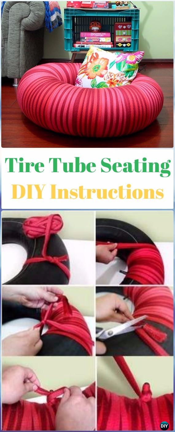 DIY Tire Tube Seating Instructions - DIY Old Tire Furniture Ideas