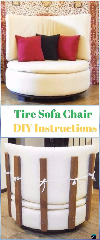 DIY Round Tire Sofa Chair Instructions - DIY Old Tire Furniture Ideas&Tutorials