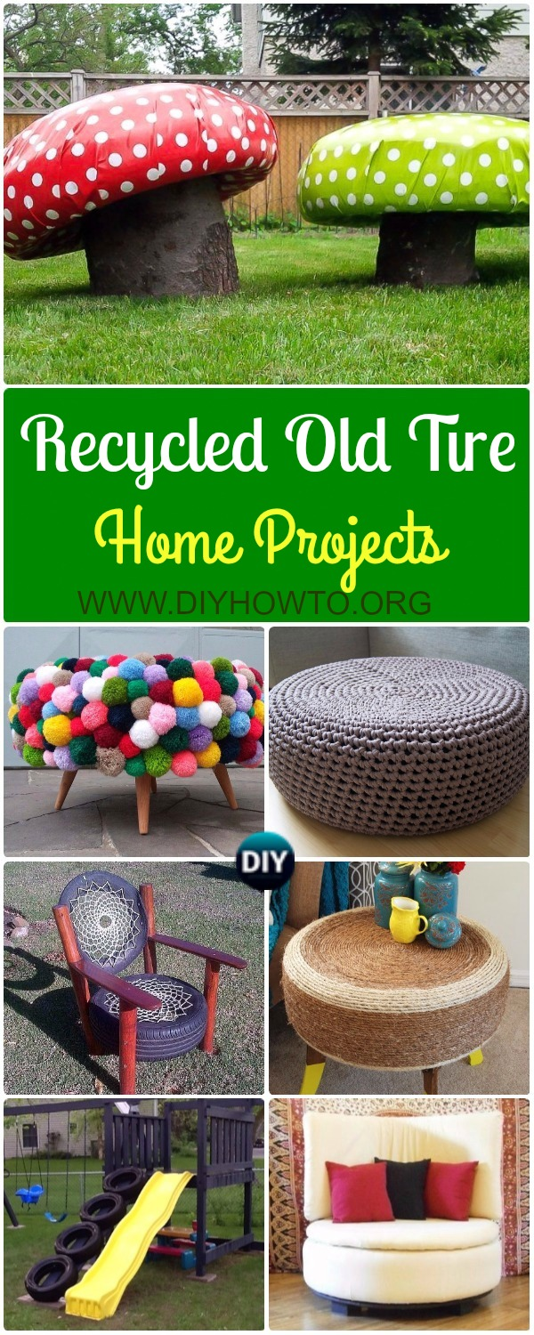 Collection of DIY Old Tire Furniture Ideas & Projects for Home Improvement: Tire Chair, Storage Ottoman, Rocking Chair, Toadstool, Crochet Tire Seating and more