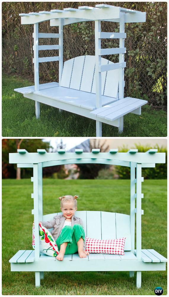 Garden Bench Ideas Part - 44: DIY Kids Arbor Bench Instructions Free Plan - Outdoor Garden Bench Ideas