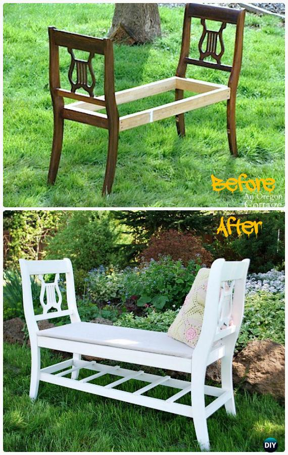 Gardening Bench Plans Part - 37: DIY Broken Chair Garden Bench Instructions - Outdoor Garden Bench Ideas