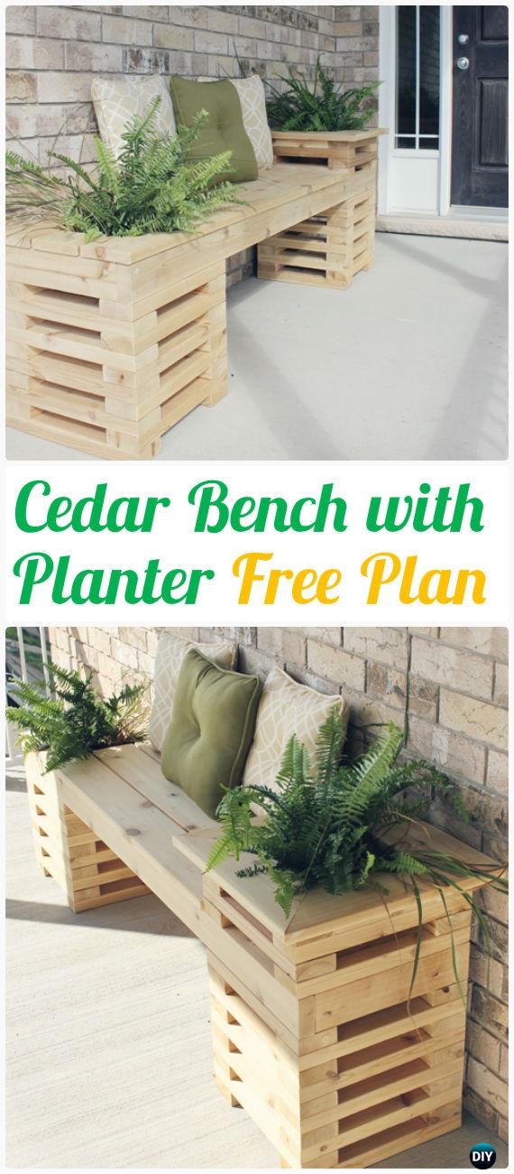 DIY Cedar Wood Bench with Side Planters Instructions - Outdoor Garden Bench Ideas