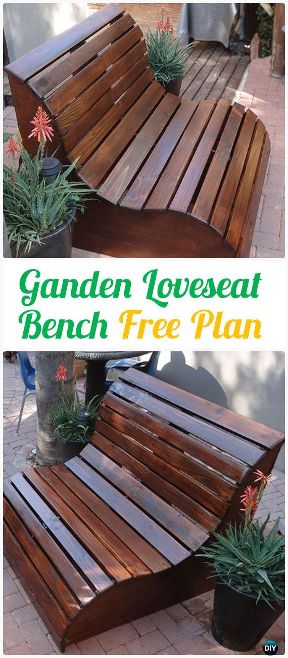 DIY Garden Slat Bench Loveseat Instructions - Outdoor Garden Bench Ideas