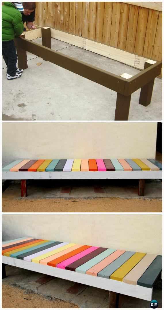 DIY Colorful Painted Garden Bench Instructions - Outdoor Garden Bench Ideas