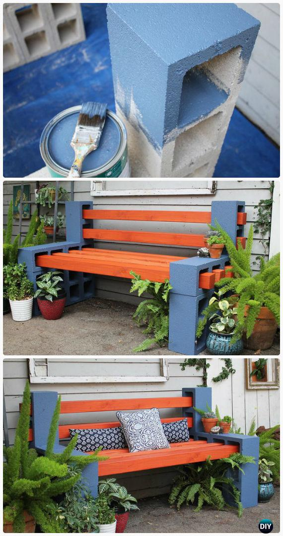 DIY Simple Cinder Block Garden Bench Instructions - Outdoor Garden Bench Ideas