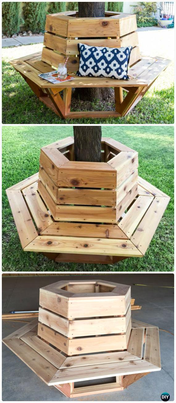 DIY Hexagon Cedar Bench Instructions Free Plan - Outdoor Garden Bench Ideas