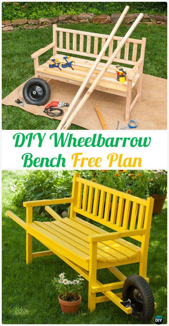 DIY Wheelbarrow Bench Instructions Free Plan - Outdoor Garden Bench Ideas