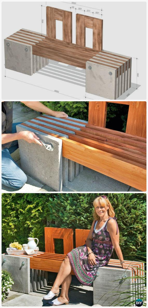 Astonishing Diy Concrete Wood Garden Bench Instructions Outdoor Garden Creativecarmelina Interior Chair Design Creativecarmelinacom