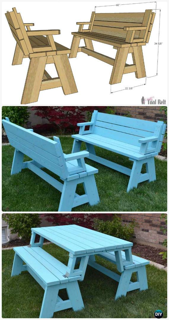 DIY Convertible Picnic Table and Bench Free Plan Instructions - DIY Outdoor Patio Furniture Ideas