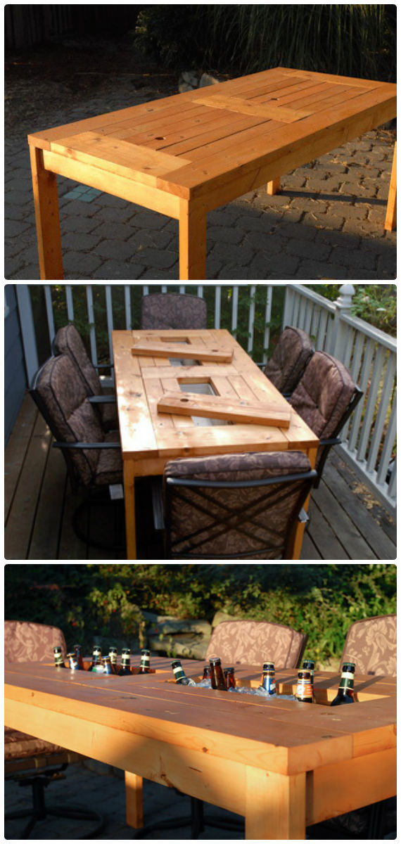 DIY Patio Table with Built-in Cooler Instructions - Outdoor Patio Furniture Ideas Instructions