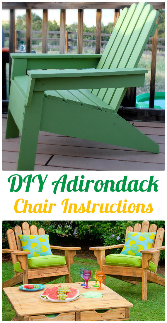 DIY Adirondack Chair Instructions - Outdoor Patio Furniture Ideas Instructions