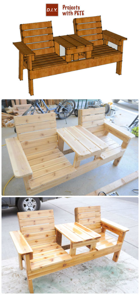 Stupendous Diy Double Chair Bench With Table Free Plans Instructions Caraccident5 Cool Chair Designs And Ideas Caraccident5Info
