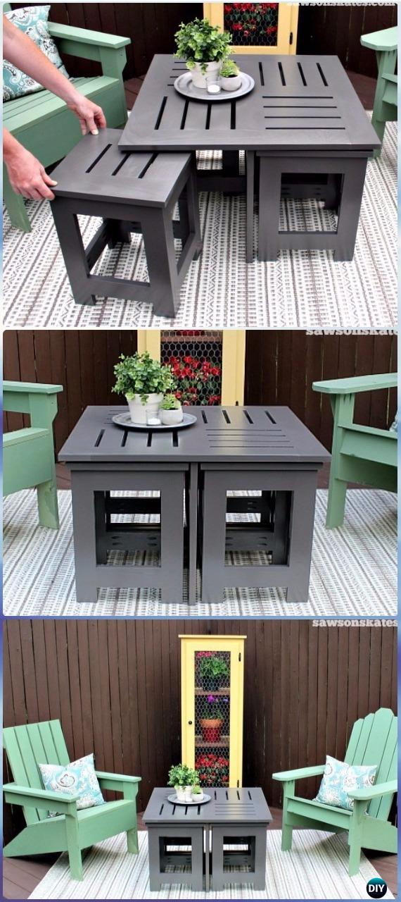 DIY Outdoor Coffee Table with Hidden Side Tables Instructions - DIY Outdoor Table Ideas & Projects Free Plans
