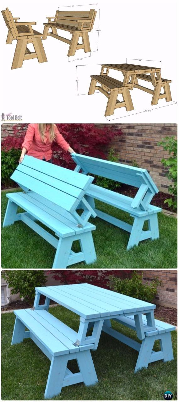 DIY Convertible Picnic Table and Bench Instructions - DIY Outdoor Table Ideas & Projects Free Plans