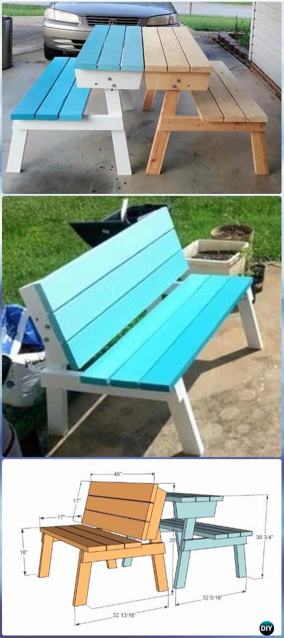 Amazing Diy Picnic Table That Converts To Benches Instructions Diy Evergreenethics Interior Chair Design Evergreenethicsorg