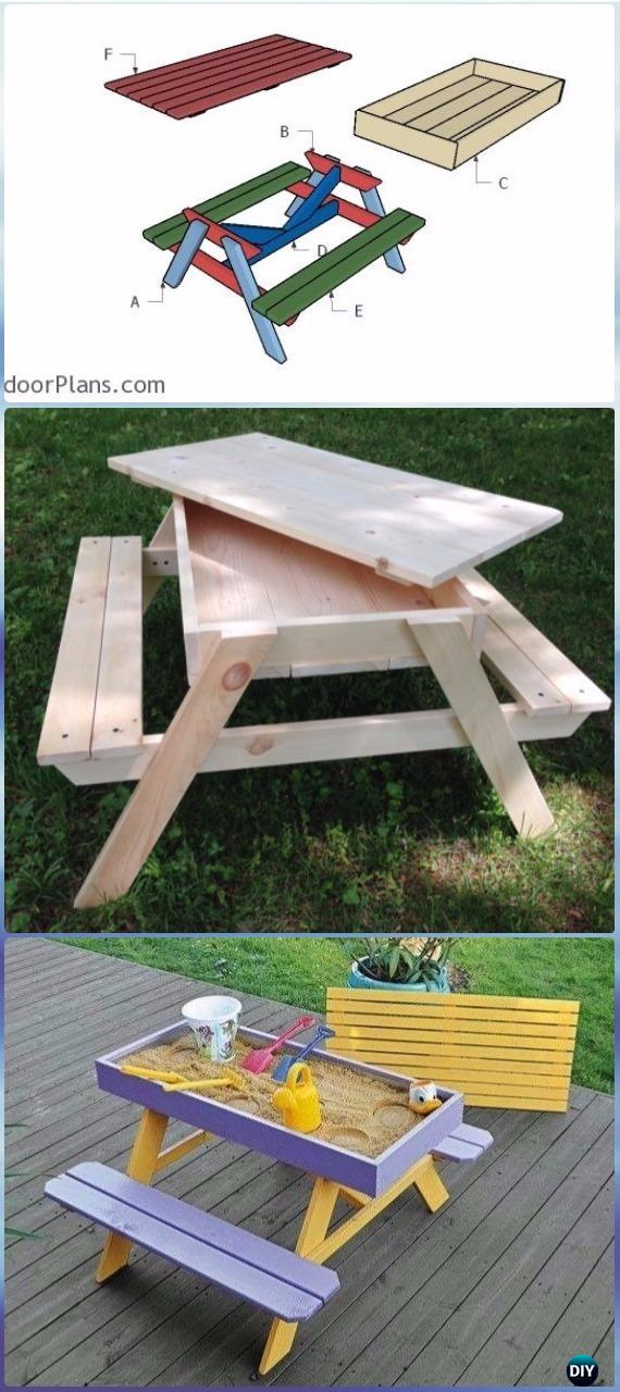 DIY Sandbox Picnic Table Free Plan & Instructions - DIY Outdoor Table Ideas & Projects Free Plans