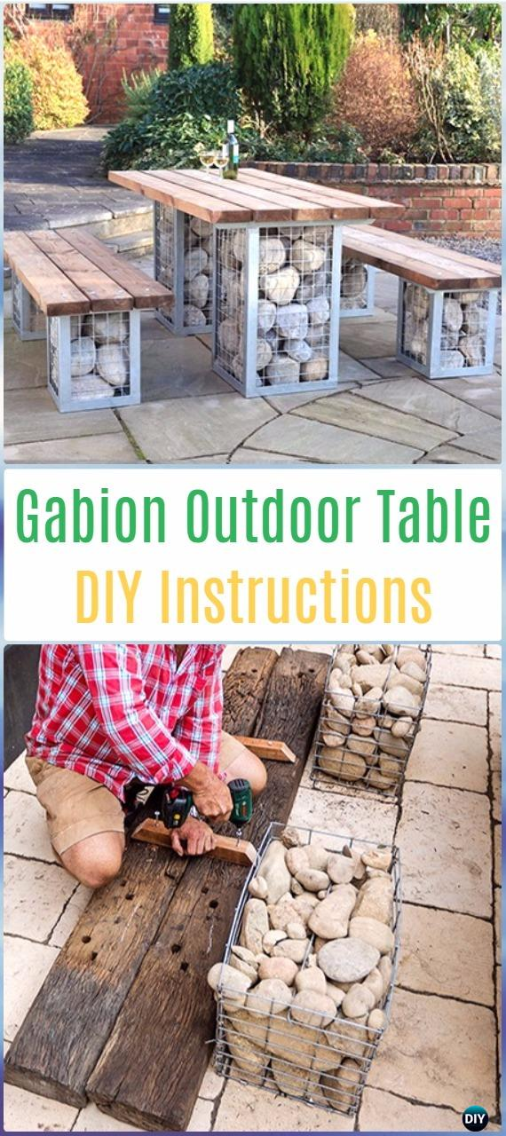 DIY Outdoor Cabion Table Set Instructions - DIY Outdoor Table Ideas & Projects Free Plans