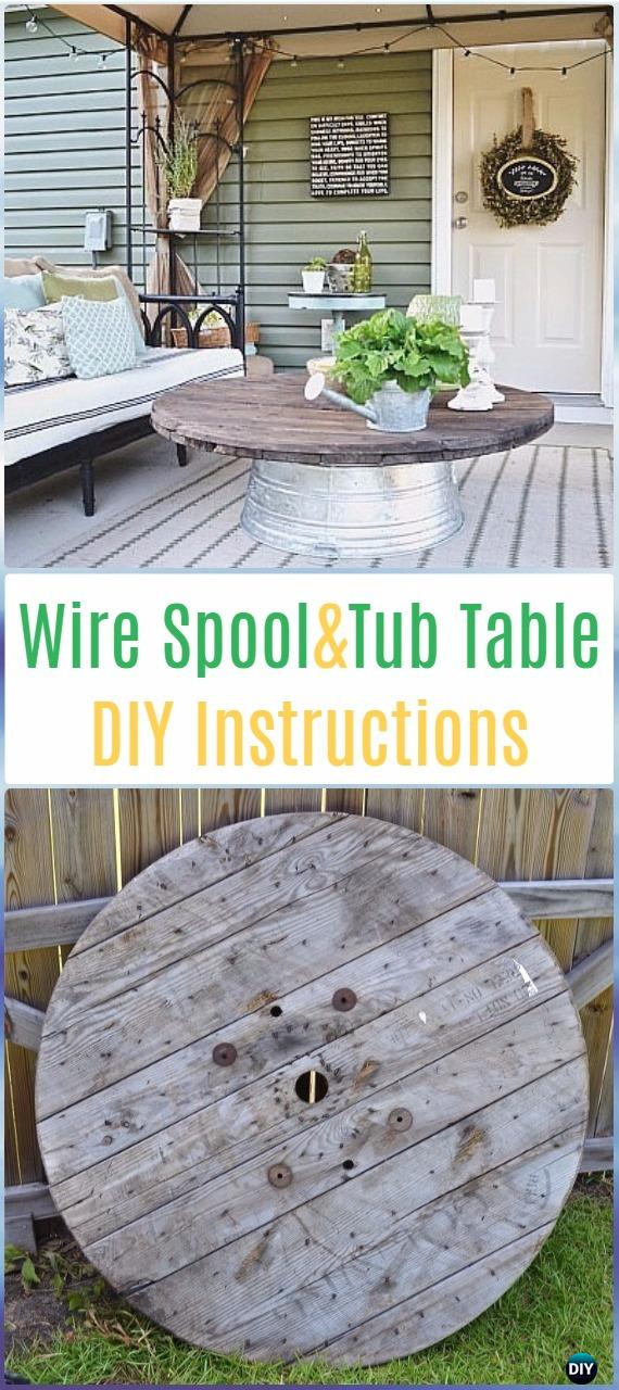 DIY Wire Spool Metal Tub Coffee Table Instructions - DIY Outdoor Table Ideas & Projects Free Plans