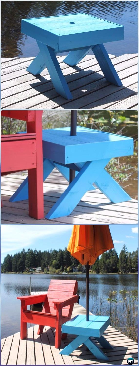 DIY Side Table Umbrella Stand Instructions - DIY Outdoor Table Ideas & Projects Free Plans