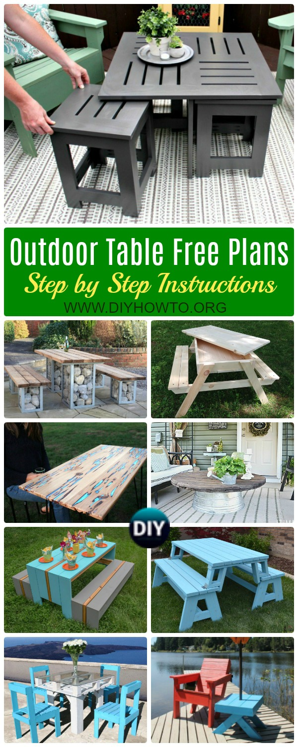 Collection of DIY Outdoor Table Ideas & Projects Free Plans: Outdoor Patio Table, Space Saving Coffee Table with Under Table, Sand Table, Table Bench in One and more