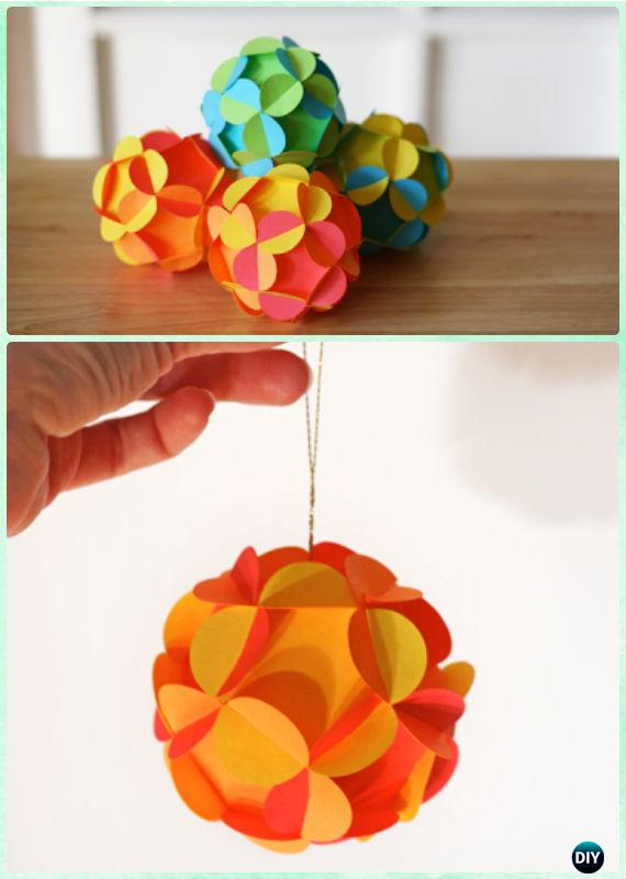 DIY Paper Flower Ball Ornament Instruction Christmas Tree Craft Ideas
