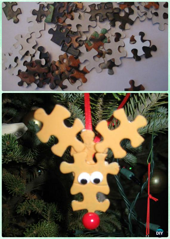 DIY Puzzle Rudolph Reindeer Ornament Instruction- DIY Paper Christmas Tree Ornament Craft Ideas