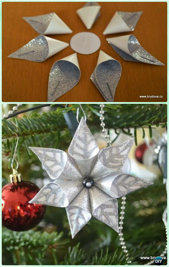 Christmas Decorations Craft Ideas Part - 36: DIY Card Stock Paper Flower Snowflake Ornament Instruction- DIY Paper  Christmas Tree Orn