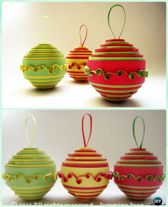 DIY Rolled Paper Ornament Instruction- DIY Paper Christmas Tree Ornament Craft Ideas