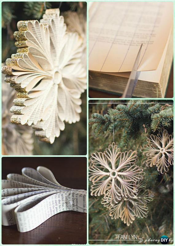 Diy Old Book Paper Glitter Snowflake Ornament Instruction Diy Paper