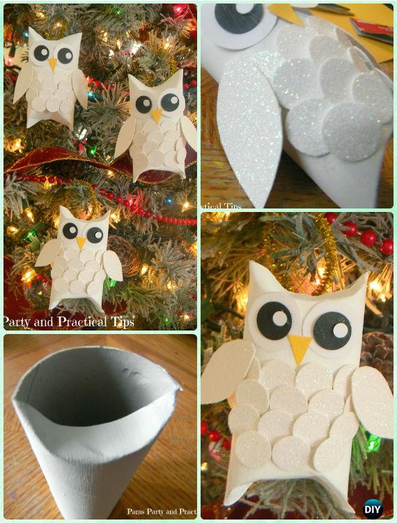 DIY Glitter Paper Roll Owl Ornament Instruction- DIY Paper Christmas Tree Ornament Craft Ideas
