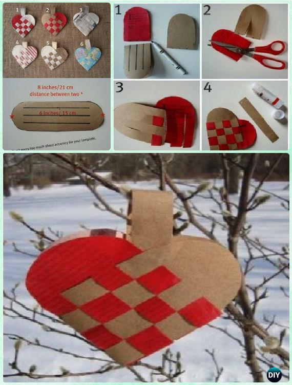 DIY Woven Paper Heart Ornament Instruction- DIY Paper Christmas Tree Ornament Craft Ideas