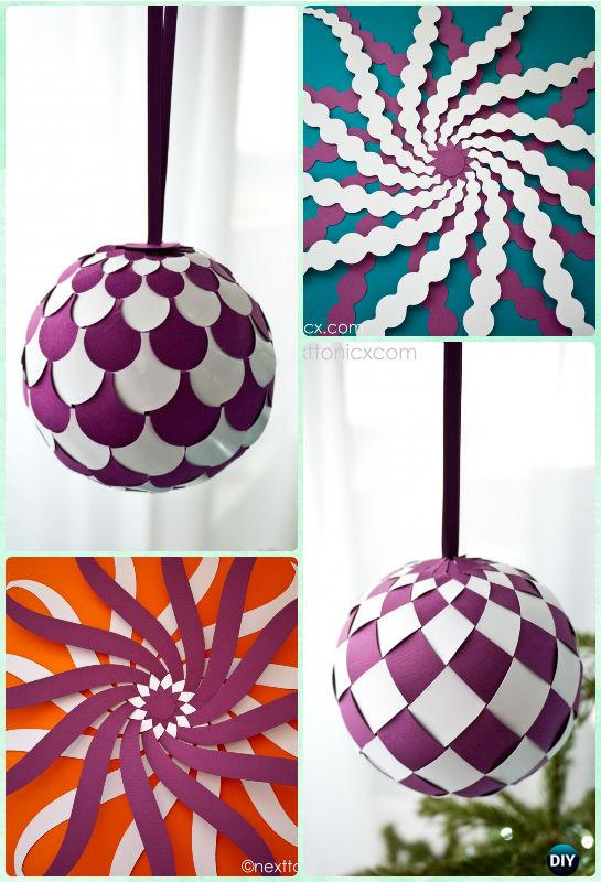 DIY Woven Paper Bauble Ornament Instruction- DIY Paper Christmas Tree Ornament Craft Ideas