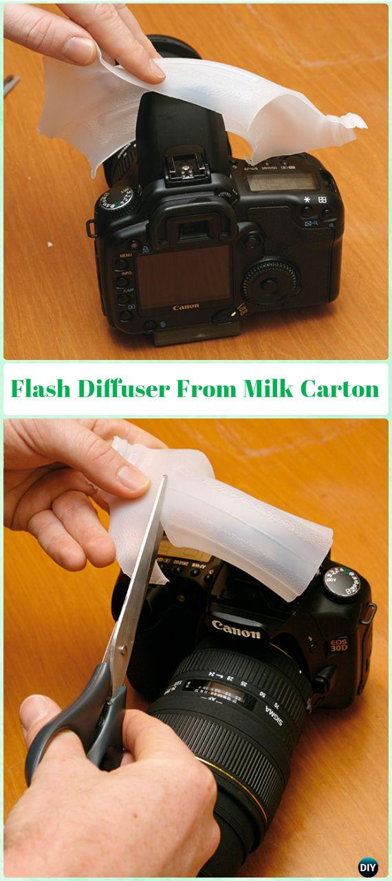 DIY Camera Flash Light Diffuser From Milk Carton Tutorial - DIY Photography Tips Camera Tricks