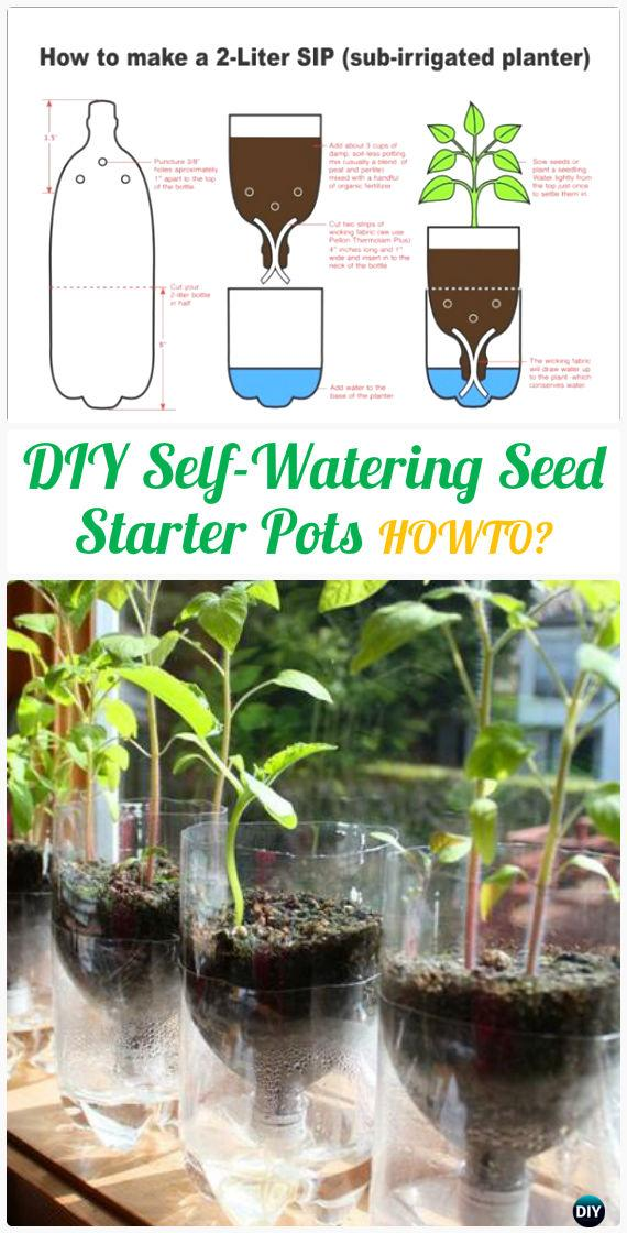 DIY Self-Watering Seed Starter Pots Instructions - DIY Plastic Bottle Garden Projects & Ideas