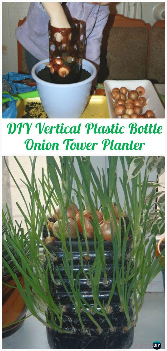 DIY Vertical Plastic Bottle Onion Tower Planter Instructions - DIY Plastic Bottle Garden Projects & Ideas