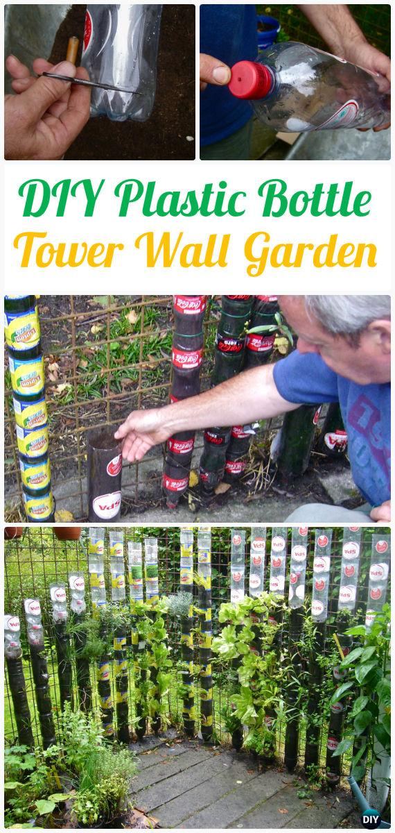 DIY Vertical Plastic Bottle Tower Gardening Instructions - DIY Plastic Bottle Garden Projects & Ideas