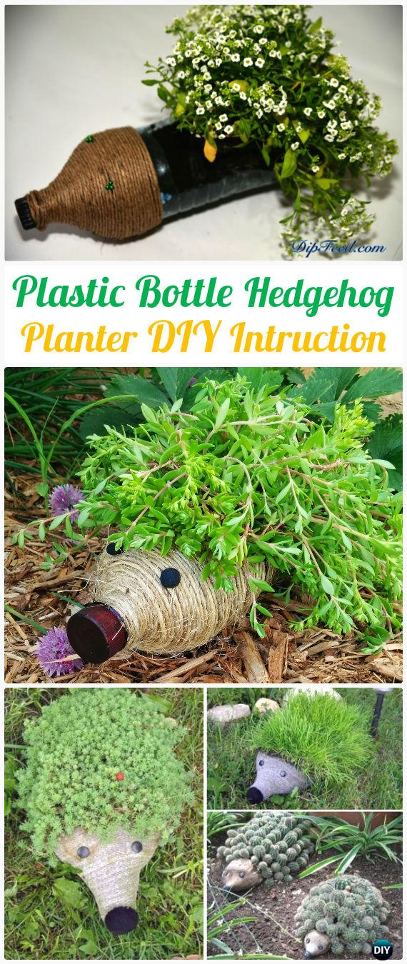 DIY Plastic Bottle Hedgehog Planter Instructions - DIY Plastic Bottle Garden Projects & Ideas