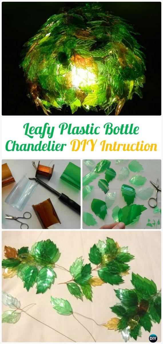 DIY Leafy Plastic Bottle Chandelier Instructions - DIY Plastic Bottle Garden Projects & Ideas