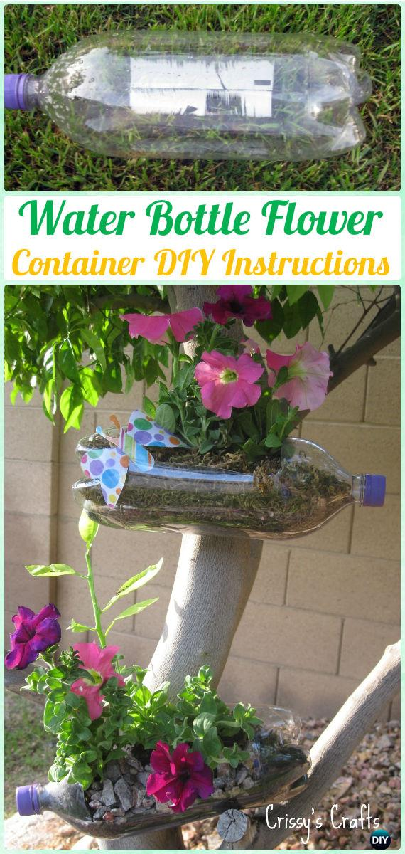DIY Water Bottle Flower Container Instructions - DIY Plastic Bottle Garden Projects & Ideas